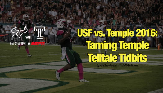 USF vs. Temple 2016-Taming Temple Telltale Tidbits by Matthew Manuri | SoFloBulls.com FI