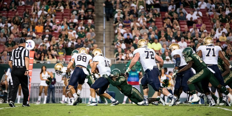 108 - Navy vs. USF 2016 - Navy Rushing TD Deatrick Nichols Tackle by Dennis Akers | SoFloBulls.com (5463x2729)