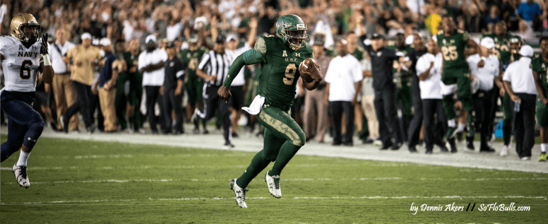 #BeatSMU USF QB Quinton Flowers looks to Keep the Bulls Rolling Against SMU Facebook Cover Image [photo by Dennis Akers] - SoFloBulls.com (3568x1461)