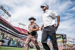 66 - USF vs. UCF 2016 - USF HC Willie Taggart jogs off the field #WarOnI4 by Dennis Akers | SoFloBulls.com (5005x3341)