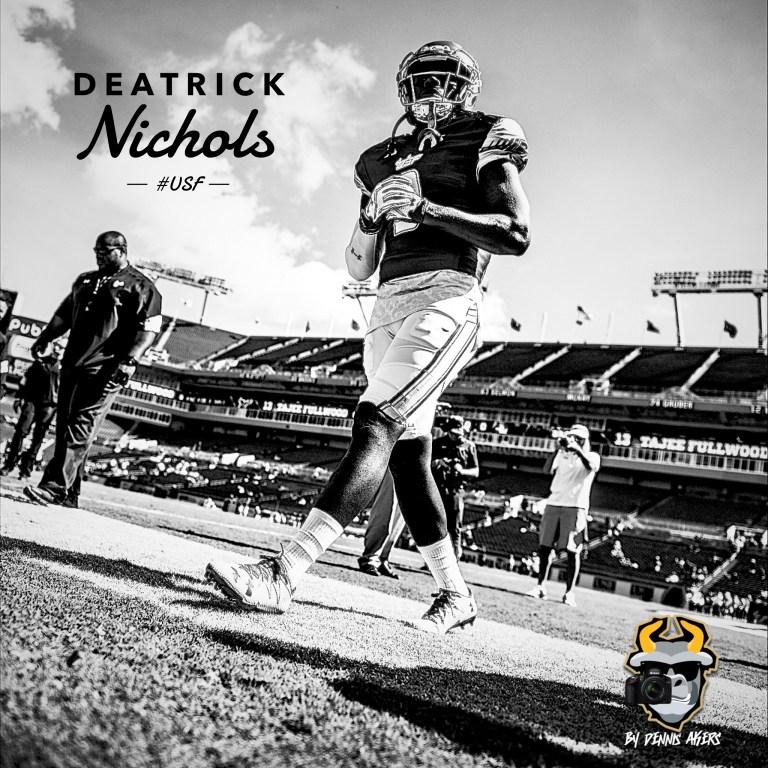 USF DB Deatrick Nichols vs. ECU Instagram Image FINAL B and W by Matthew Manuri | SoFloBulls.com (2048x2048)
