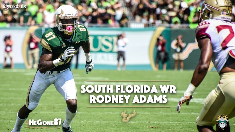 🎥 SoFloBulls.com 2016 USF Football Highlights Series: #HeGone87 WR Rodney Adams YouTube Cover Photo by Matthew Manuri | SoFloBulls.com (1920x1080)