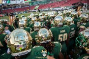 13 - Temple vs. USF 2017 - USF OL Christion Gainer with Team on Field by Dennis Akers | SoFloBulls.com (5934x3961)