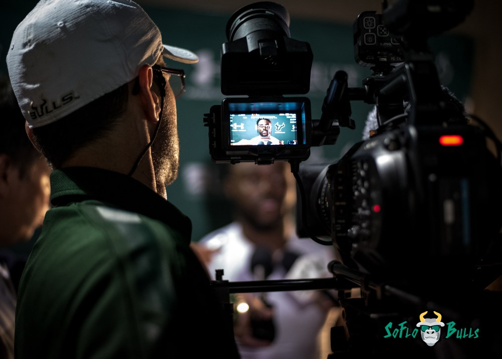 145 - USF vs. San Jose State 2017 - USF S Devin Abraham Post-Game Interview by Dennis Akers | SoFloBulls.com (5419x3871)