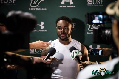 146 - USF vs. San Jose State 2017 - USF S Devin Abraham Post-Game Interview by Dennis Akers | SoFloBulls.com (6016x4016)