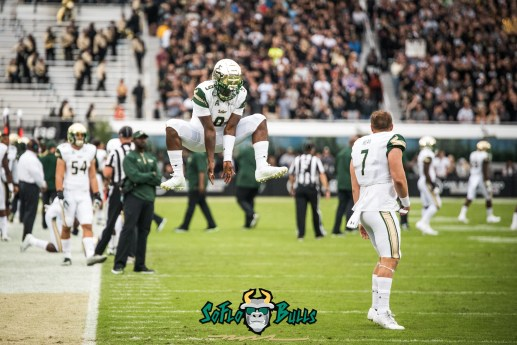 11 - USF vs. UCF 2017 - USF QB Quinton Flowers Slam Dunk Celebration with Brett Kean by Dennis Akers | SoFloBulls.com (4988x3330)