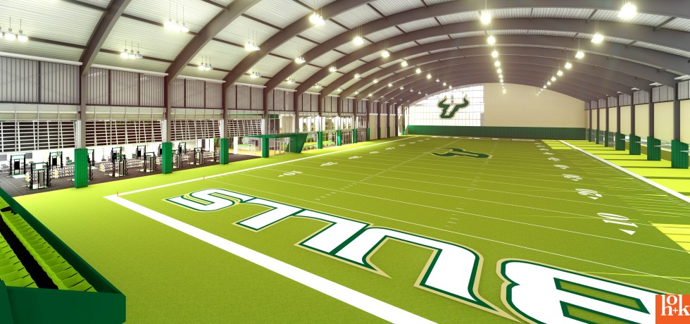 USF Football Center Rendering Indoor Practice Facility IPF Field Image via USF Athletics
