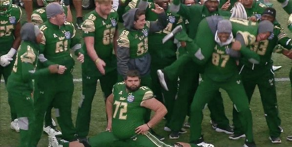 USF OL Brooks Larkin's Majestic Sideline Split vs. Texas Tech 2017 Birmingham Bowl (598x302)