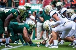 103 - Georgia Tech vs. USF 2018 - USF DL vs. Georgia Tech OL by Dennis Akers | SoFloBulls.com (6016x4016)
