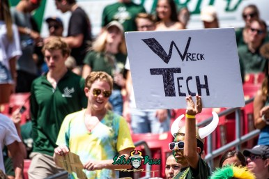 109 - Georgia Tech vs. USF 2018 - USF Fann in Crowd with Wreck Tech Sign Poster by Dennis Akers | SoFloBulls.com (6016x4016)