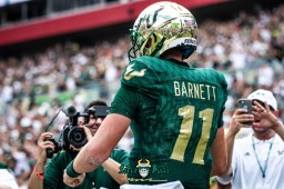 123 - Georgia Tech vs. USF 2018 - #ShakeNBlake USF QB Blake Barnett Media watching after Rushing Touchdown by Dennis Akers | SoFloBulls.com (6016x4016)