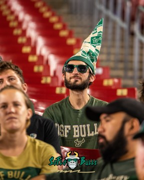 147 - Elon vs. USF 2018 - USF Fan in crowd with majestic magical hat by Dennis Akers | SoFloBulls.com (2707x3384)