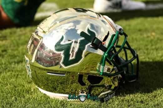202 - Elon vs. USF 2018 - Gold USF Football Helmet on Field by Will Turner | SoFloBulls.com (4687x3126)