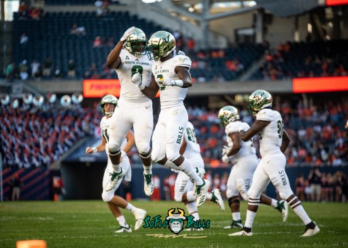 108 - USF vs. Illinois 2018 - USF WR Darnell Salomon Tyre McCants by Dennis Akers | SoFloBulls.com (5481x3915)