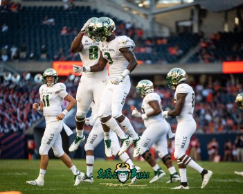 109 - USF vs. Illinois 2018 - USF WR Darnell Salomon Tyre McCants by Dennis Akers | SoFloBulls.com (4719x3775)