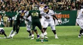 44A - USF vs. ECU 2018 - USF DT Kevin Kegler Khalid McGee by Will Turner | SoFloBulls.com (3720x2023)