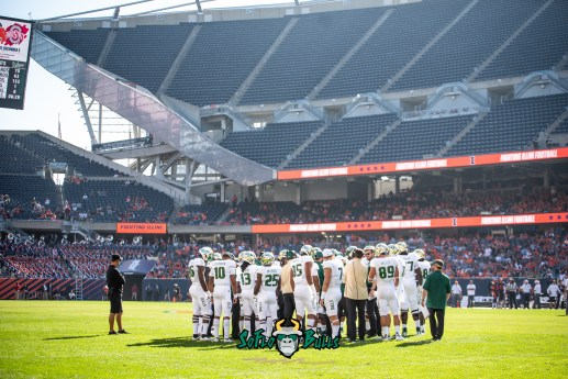 66 - USF vs. Illinois 2018 - USF Football Team at 50 Yard Line at Soldier Field by Dennis Akers | SoFloBulls.com (6016x4016)