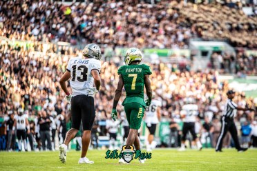 44 - UCF vs. USF 2018 - USF DB Mike Hampton with WR Gabe Davis by Dennis Akers | SoFloBulls.com