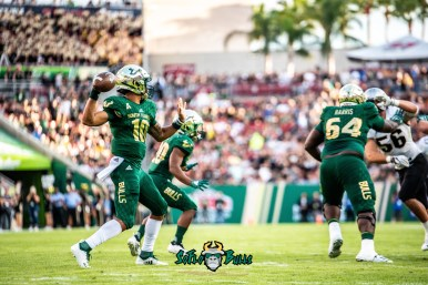 47 - UCF vs. USF 2018 - USF QB Chris Oladokun Johnny Ford Demetris Harris by Dennis Akers | SoFloBulls.com