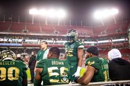 127 - Marshall vs. USF 2018 - USF DE Juwuan Brown Josh Black Vincent Jackson Jr Kevin Kegler by Dennis Akers | SoFloBulls.com