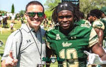 138 - USF Spring Game 2018 - USF DB Ronnie Hoggins with SoFloBulls.com Owner Matthew Manuri by Dennis Akers | SoFloBulls.com Cropped (3200x2046)