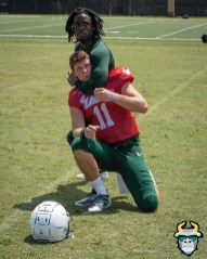3 - USF WR Randall St. Felix chokes out QB Blake Barnett Fall Camp 2019 by David Gold DRG02337