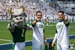 10 - USF vs Georgia Tech 2019 - USF Mascot Rocky D. Bull with USF Coed Cheerleaders Pregame by Matthew Manuri - IMG_1818