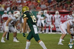 112 - Wisconsin vs USF 2019 - USF WR Bryce Miller by David Gold - DRG06510