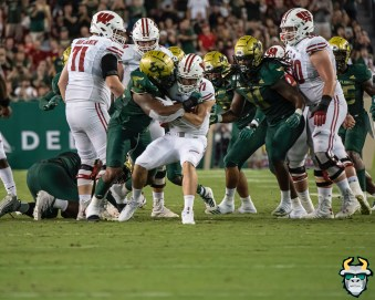 66 – Wisconsin vs USF 2019 – USF DE Darius Slade sacks Jack Coan by David Gold – DRG05605
