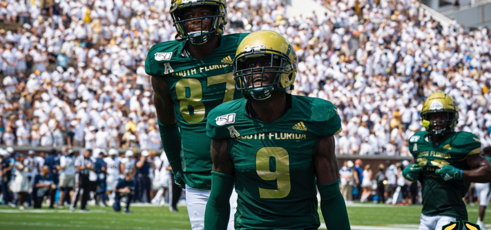 USF DB KJ Sails celebrates interception vs. Georgia Tech 2019 by David Gold - SoFloBulls.com