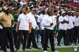 103 - SMU vs USF 2019 - Charlie Strong Kerwin Bell Auggie Sanchez Brian Jean-Mary by David Gold - DRG01689