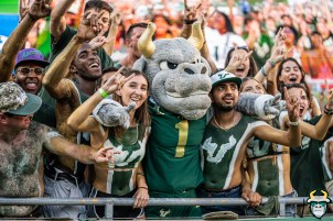 99 - BYU vs USF 2019 - Mascot Rocky D. Bull with fans in crowd Horns Up by David Gold - DRG01206