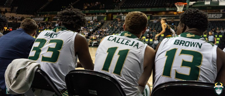 15 - St. Leo vs South Florida Men's Basketball 2019 - B.J. Mack Mark Calleja Justin Brown by David Gold - DRG02793