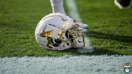 20 - Memphis vs. USF 2019 - White Chrome Big U Logo Helmet by David Gold - DRG03530