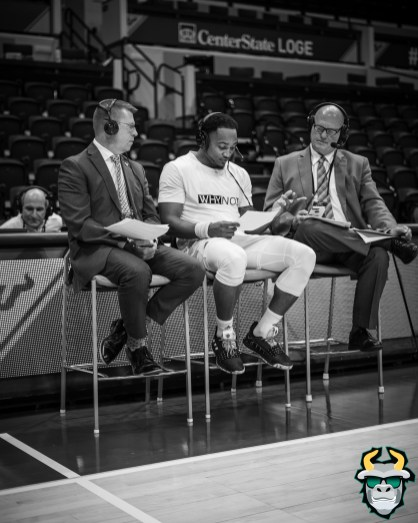 30 - UConn vs. South Florida Men's Basketball 2020 - Laquincy Rideau with ESPN commentators B&W - DRG09142