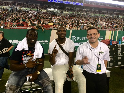 Former USF Players Quinton Flowers Marquez Valdes-Scantling with SoFloBulls.com Owner Matthew Manuri