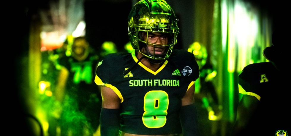 USF DB Chris Townsel in So Flo Uniforms vs. Tulsa 2020