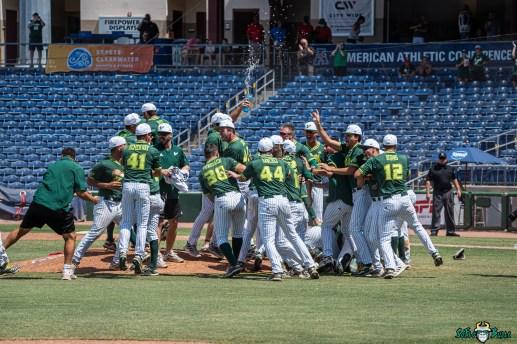 131 USF vs UCF Baseball Bulls Team Celebrating 2021 AAC Championship DRG00952