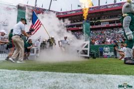 32 Florida vs USF 2021 - Jeff Scott TJ Robinson Coming out of Smoke Tunnel DRG01267