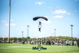 67 - USF Spring Game 2018 - Officer Parachute Landing by Dennis Akers - SoFloBulls.com (5809x3878)