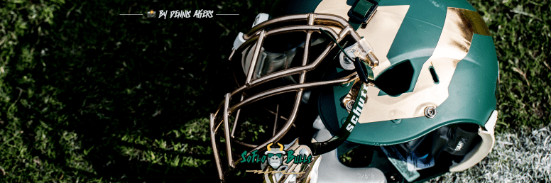 69 - USF vs. UCF 2016 - USF Green Football Helmet on Field #WarOnI4 Twitter Cover Image by Dennis Akers - SoFloBulls.com FINAL (2999x999)