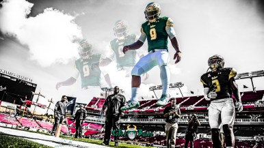 SoFloBulls.com #Glock9 South Florida QB Quinton Flowers Highlights 2017 YouTube Cover Image Yellow Red Blend Green QF (1920x1080)