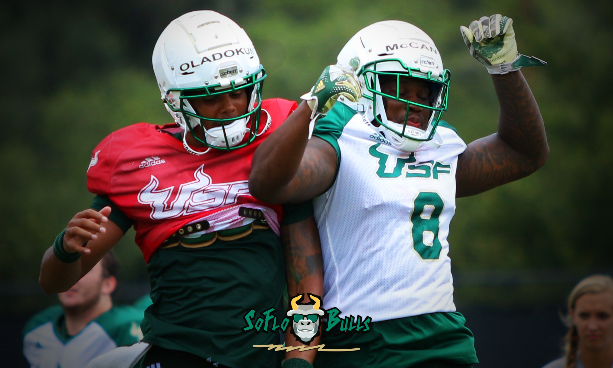 USF Football Fall Camp Notes 2018 - Day 11 - Tyre McCants and Chris Oladokun - by Will Turner - SoFloBulls.com (2000x1200)