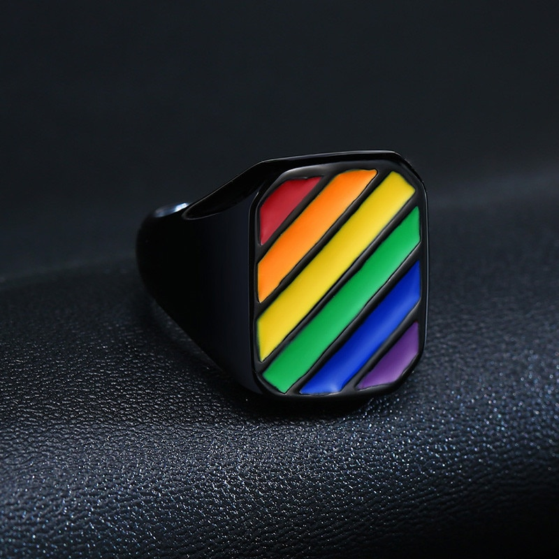 LETAPI 2021 New Fashion Big Black Square Gay Jewelry Stainless Steel Rainbow LGBT Pride Wedding Rings for Men