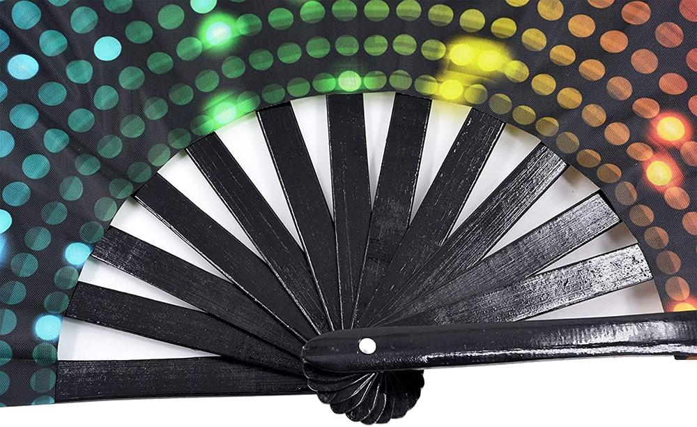 34 cm Large Folding Hand Fan Fold 1 pcs Dot Rainbow Print Black Bamboo & Nylon-Cloth Festival Handheld Fan For Gift