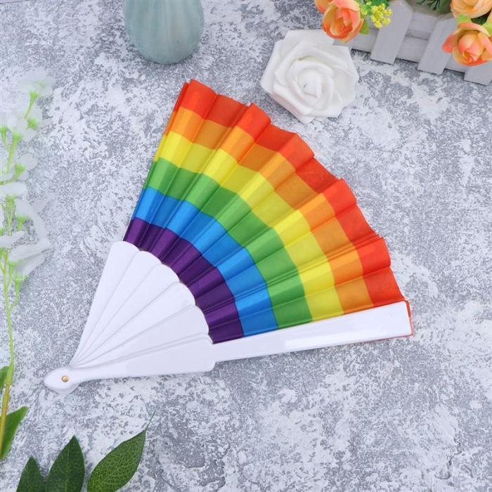 23CM Rainbow Folding Fan Rainbow Fan Lovers Fan Durable Fabric LGBTQ Gift Folding Fan Gay Wedding Decors Fan