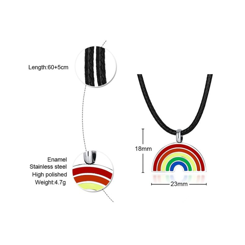 Rainbow Pendant Necklaces for Women 316L Stainless Steel Leather Rope Chain Gay & Lesbian LGBTQ Pride Men Gift Support Engraving