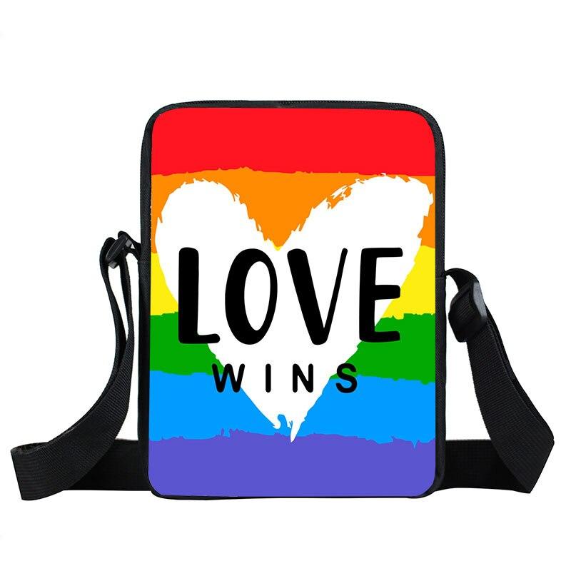 Rainbow Lgbt Crossbody Bag Lesbians Gays Handbag Bisexuals Transgender Shoulder Bag for Travel Lgbtq Love Wins Satchel Book Bags