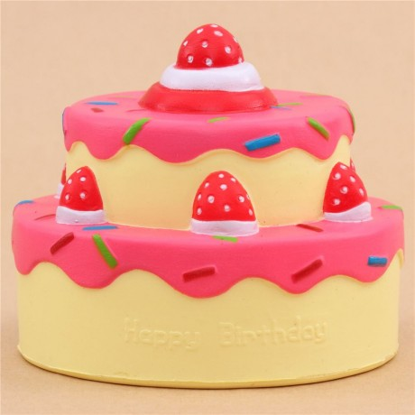 Vlampo Cute Happy Birthday Cake Hot Pink Icing Squishy Kawaii Cute Squishy Shop