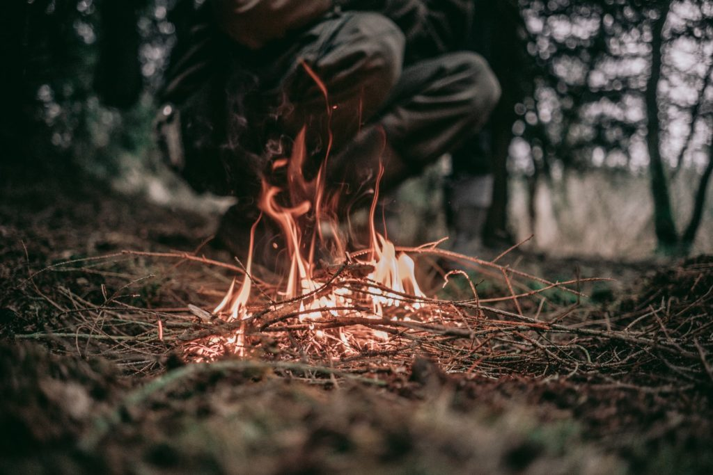putting out a campfire